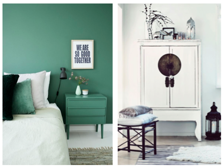 Geschilderde witte kast en groene muur