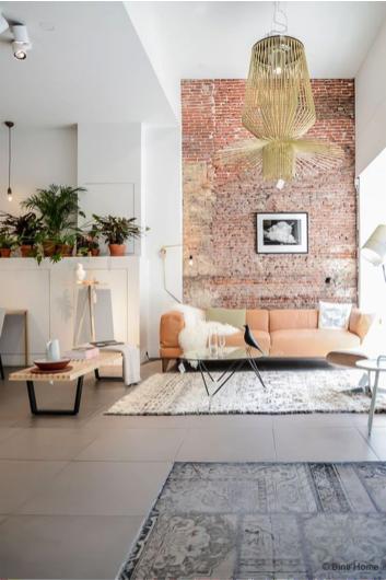 Woonkamer deco stenen muur inspiratie het beste interieur - Deco originele muur ...