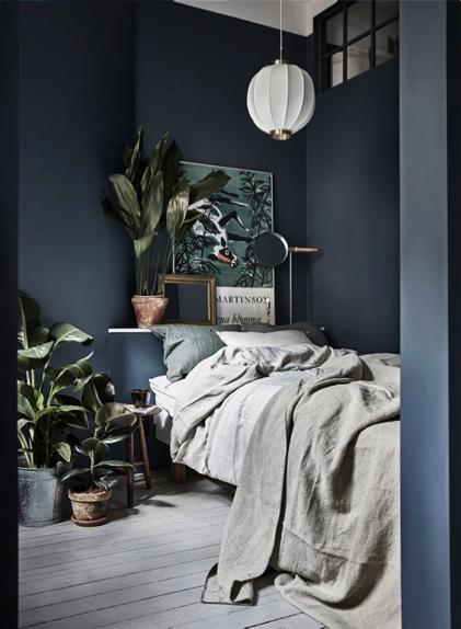 Donkere slaapkamer blauw
